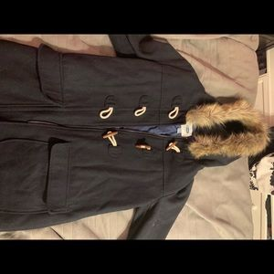 Old Navy Trench Coat. Navy color with fur hood